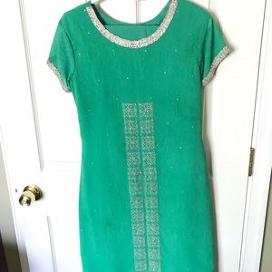Green and Silver Georgette Indian Dress